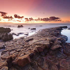 Geomorphology by Jason Asher - Landscapes Waterscapes ( sunshine coast, water, waterscape, waves, rocky, beautiful, tectonic, sea, ocean, vibrant, seascape, landscape, sun, colour, 7d, dawn, sunrise, geomorphology, rocks )