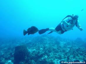 Photo: #022-Mon binôme Michel avec un beau Mérou