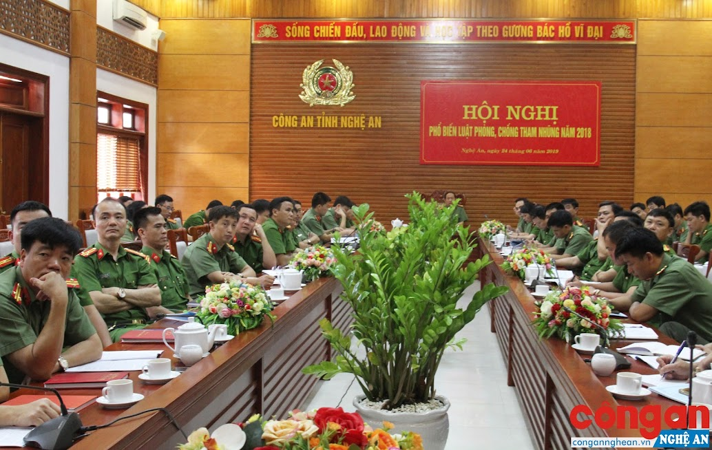 Hội nghị trực tuyến phổ biến Luật Phòng chống tham nhũng năm 2018 của Bộ Công an tại điểm cầu Công an tỉnh Nghệ An