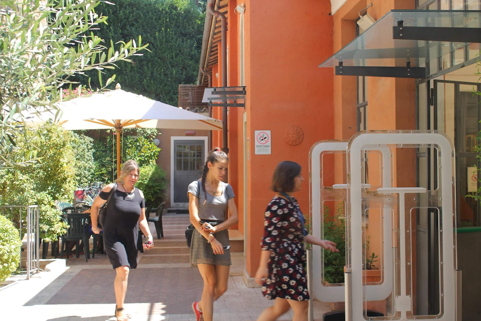 Students walking through JCU's Guarini campus