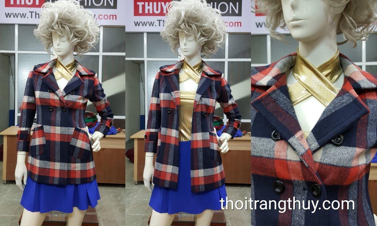 Áo khoác dạ nữ hai túi họa tiết kẻ ô vuông 3 màu V487 tại Hải Phòng