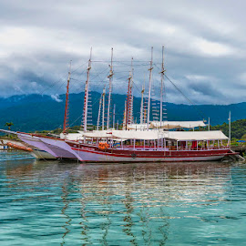 Boats in the water by Pravine Chester - Transportation Boats ( water, ship, boats, sea, ocean, transportation )
