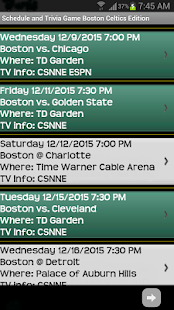 Schedule Boston Celtics fans- screenshot thumbnail