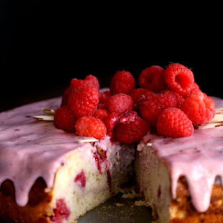 Raspberry Almond Cheesecake Cake