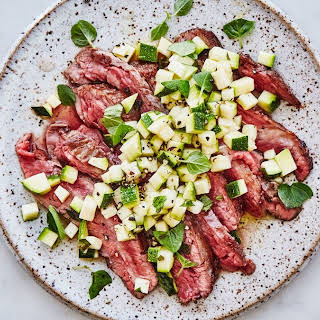 Pounded Flank Steak with Zucchini Salsa.
