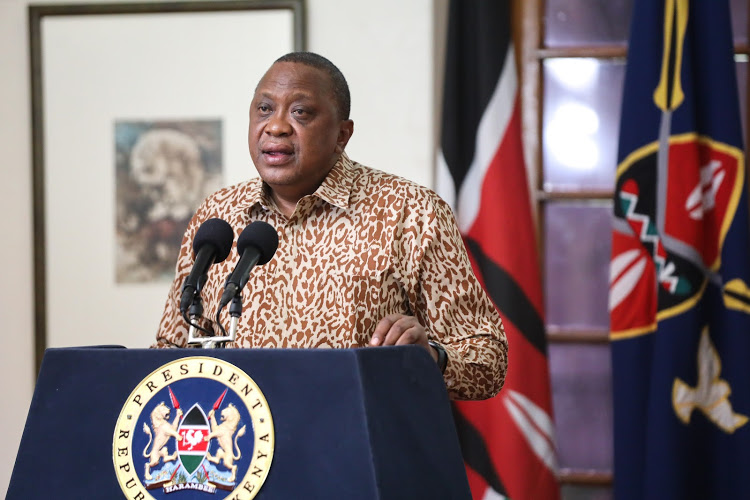 President Uhuru Kenyatta speaks during a past national address on the coronavirus pandemic at State House, Nairobi.