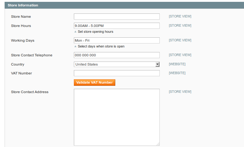 Store hours and working days in Magento
