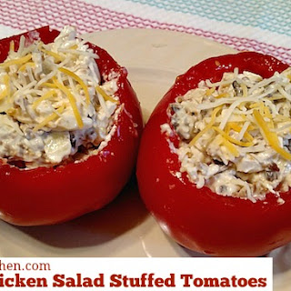 Bacon Chicken Salad Stuffed Tomatoes.