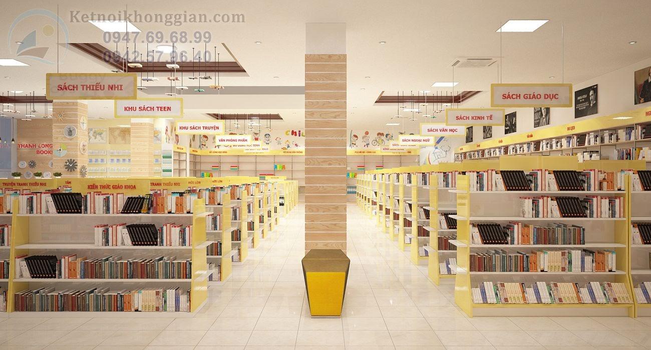 thiết kế nội thất nhà sách với gỗ thông và gỗ MDF