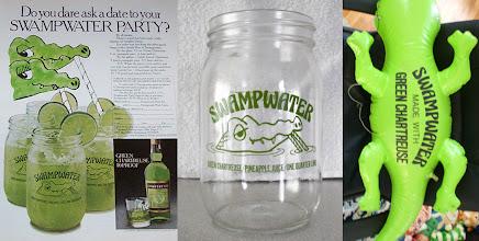 Photo: Chartreuse swampwater ! Campagne publicitaire US des années 1970 autour d'un cocktail du même nom. Party in the bayou, les croco's vont swinguer ! 1 part 1/2 de chartreuse verte, 6 parts de jus d'ananas, le 1/4 d'un citron vert et de la glace. Servir avec deux pailles, of course.