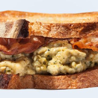 Breakfast Sandwich with Pesto-Scrambled Eggs and Crispy Pancetta