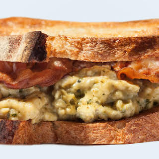 Breakfast Sandwich with Pesto-Scrambled Eggs and Crispy Pancetta.