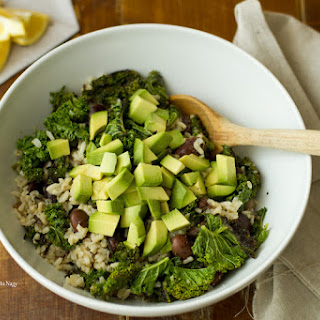 Wild Rice Salad with Beans, Avocado and Sesame Oil Dressing.