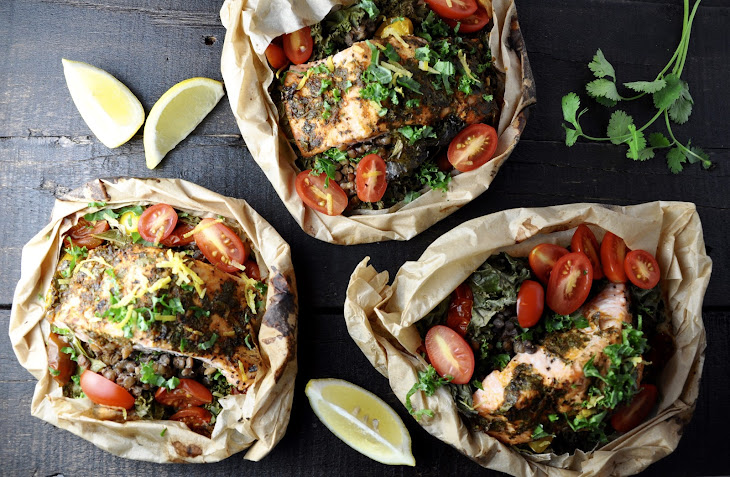 Salmon and Lentils en Papillote Recipe