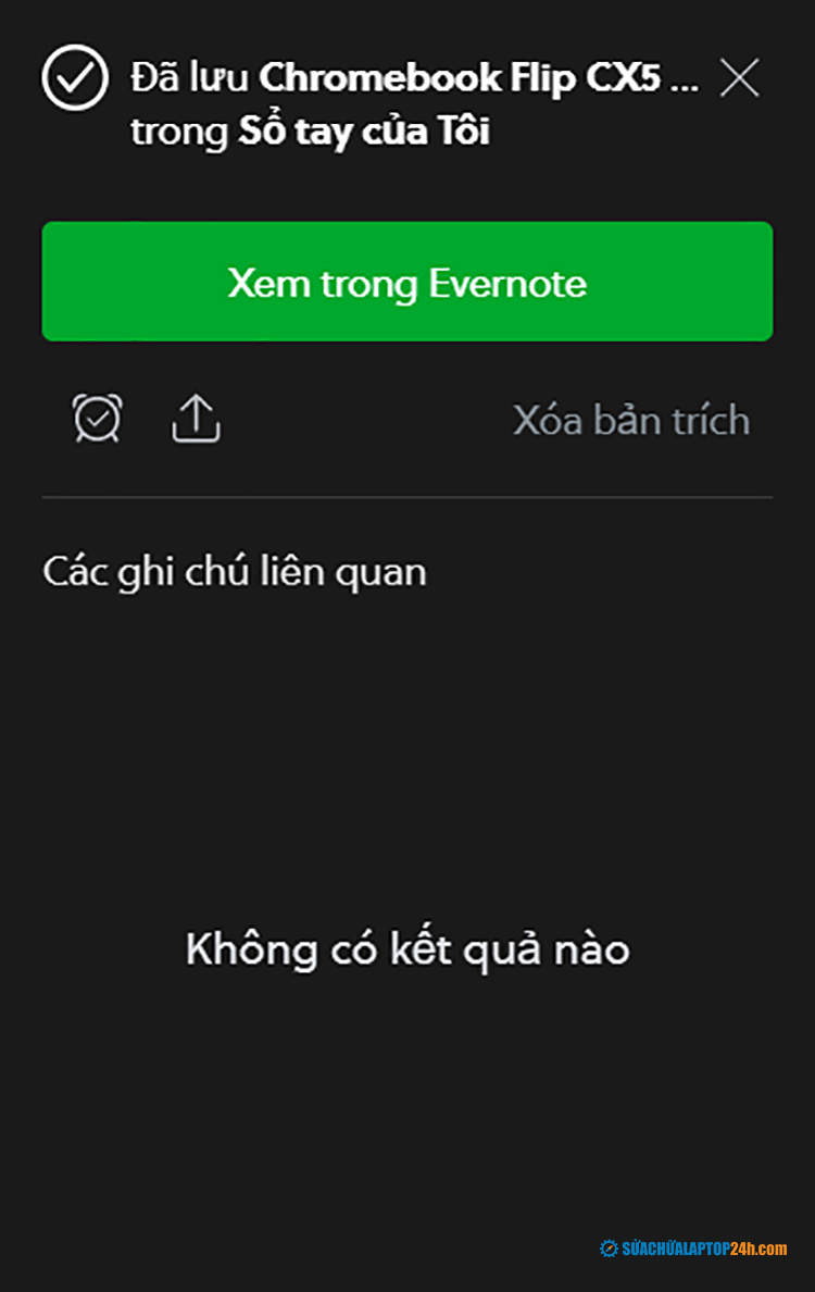 Click xem trong Evernote