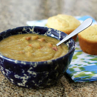 Crock Pot Pea Soup With Spicy Andouille Sausage.