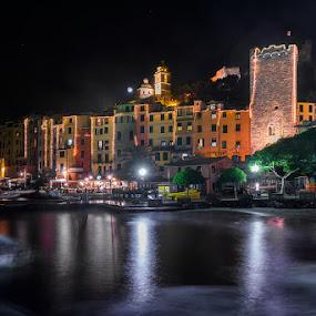 Portovenere by Roberto Melotti - City,  Street & Park  Vistas ( port, roberto melotti, harbor, liguria, nikon d810, night, italy, portovenere, nightscape )