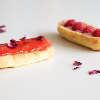 Raspberry and Rose Éclairs.