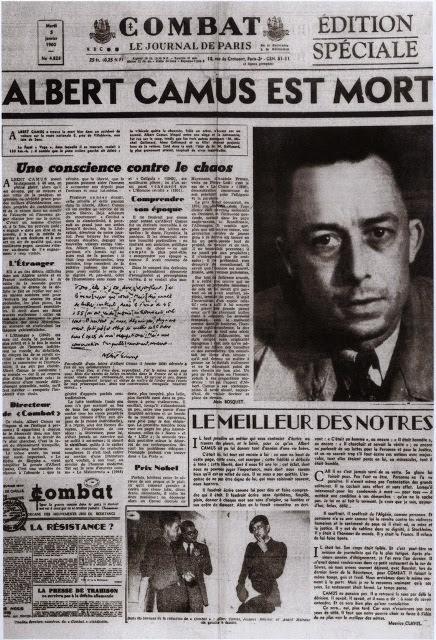 Noticia de la muerte de Albert Camus en 1960