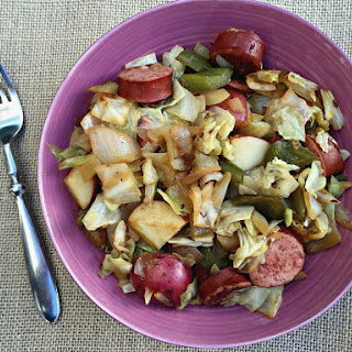 Turkey Kielbasa and Cabbage Skillet.