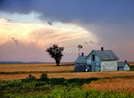 Old Kansas Farm House With Clouds By Jc R Photography