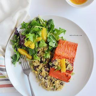 30 Minute Orange Glazed Salmon with Quinoa.