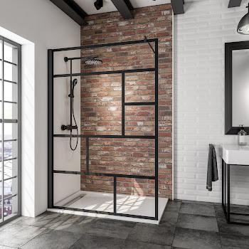 Paroi de douche fixe à l'italienne Walk In 140 cm, Atelier verrière, style industriel, profilé noir