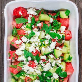 Summer Watermelon Salad with Cucumber.