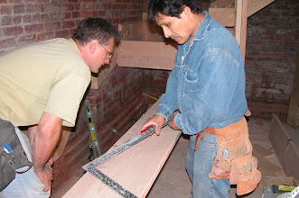 Photo: May 2004 - Month 9: New rear stairway - Joe and Zenom