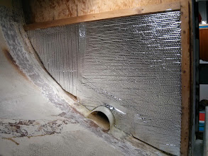 Photo: Reflectix insulation applied to aft wall.