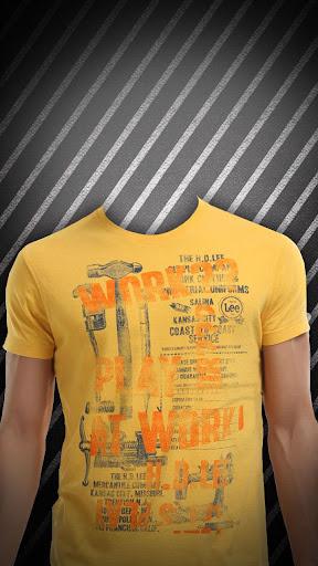 男性のTシャツフォトモンタージュ