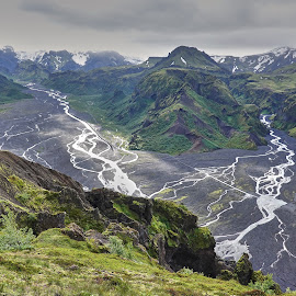 From Valahnjukur  by Palmi Vilhjalmsson - Landscapes Mountains & Hills ( thorsmork, laugarvegurinn, þórsmörk, valahnjukur, laugarvegur, hiking in iceland )