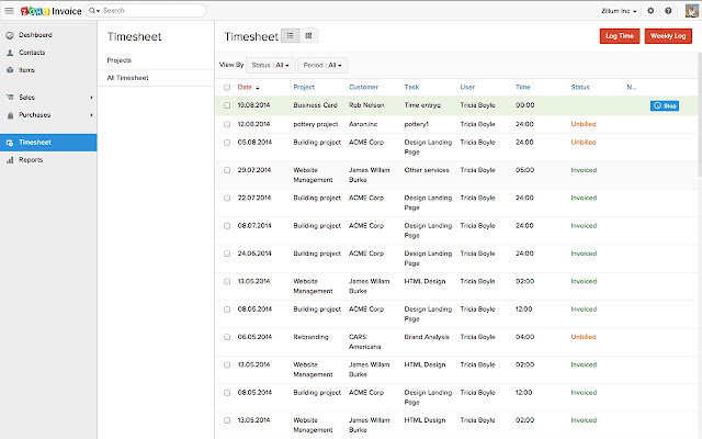 zoho invoice and time tracking chrome web store
