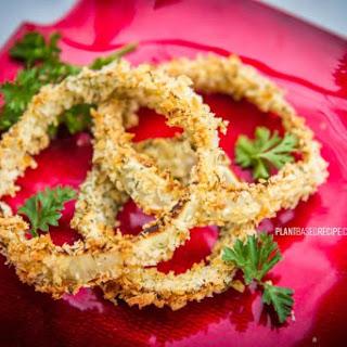 Crispy Battered Vegan Onion Rings.