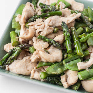 Chicken Stir-Fry with Asparagus and Snow Peas.