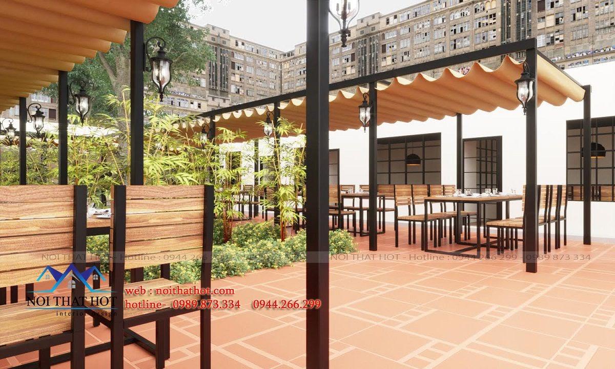 thiết kế nhà hàng ngoài trời, thiết kế nội thất nhà hàng