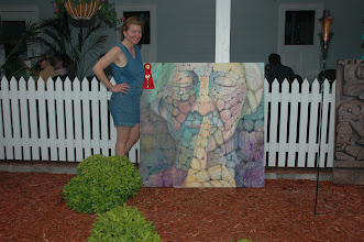 """Photo: Second Place winner and People' Choice Award Winner, Sally Anger, with her mural entitled """"...But They Choose Not To"""""""