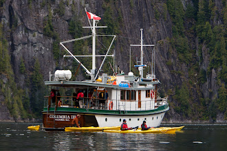 Photo: Our home for the next 9 days is the Columbia III, a historic wooden yacht built in 1956 as a mission and medical ship for the logging communities along the coast.  Outfitted now for touring, it can carry 10 passengers and 4 crew.