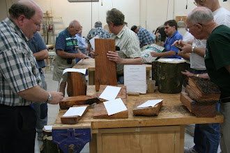 Photo: We had a very nice showing for the Silent Auction. We had some nice woods -- rare chestnut, holly, cherry, cedar, and more. Thanks to all who donated. We are seeing nice pieces come from the past SA woods. Keep 'em coming!