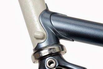 """Photo: A nice close up of the head tube with it's """"ghost"""" chainrings."""