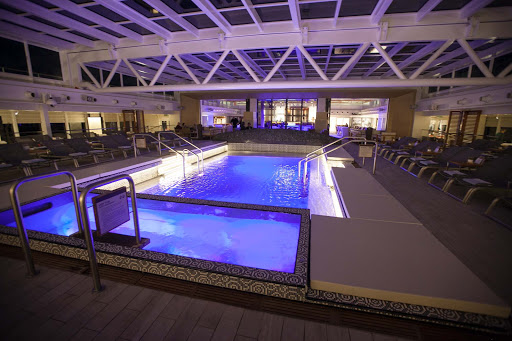 The main pool on Viking Star as evening falls.