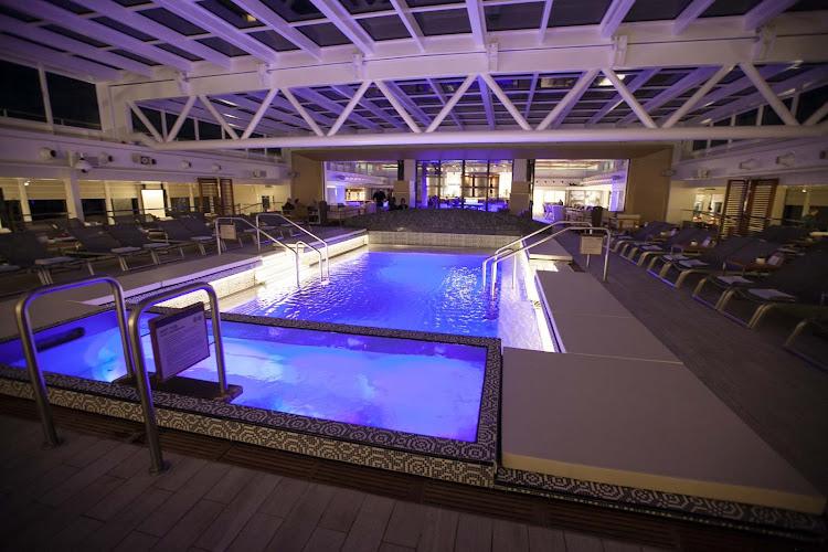 The main pool on Viking Star as evening falls.