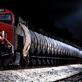Night Train by T Sco - Transportation Trains ( moon, railroad, rail, train, night, evening, moonlight,  )