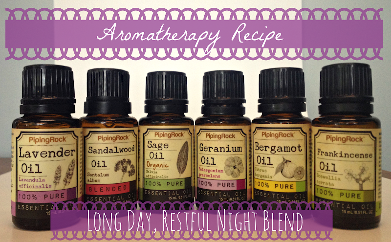 Photo: Ever have one of those days that seem to drain you both mentally and physically? Ones where you just can't wait for the moment when your head hits the pillow?  Try our Long Day, Restful Night aromatherapy blend recipe to help encourage your mental detox and a deep, restful night's rest-and make sure you're up and ready to take on the next day!**  Ingredients: 6 drops Lavender Oil (bit.ly/1oh0N8D) 4 drops Sandalwood Oil (bit.ly/1kAuz7g) 3 drops Sage Oil (bit.ly/1jbQkPN) 2 drops Geranium Oil (bit.ly/1n4mvM7) 2 drops Bergamot Oil (bit.ly/1qSda1j) 3 drops Frankincense Oil (bit.ly/1n4mKXf)  Uses: Add blend to a diffuser, humidifier or oil burner - Place a few drops of the blend on cotton balls & place in the corners of your bed - Mix well with 40 mL warm water in a spray bottle and spritz - Combine with 40 mL any carrier oil (bit.ly/TQyPbz) to create your own unique massage oil. Gently rub into shoulders, neck and the bottoms of your feet  What do YOU think of this recipe?  #pipingrock #aromatherapy #essentialoils #essentialoilrecipes #healthyliving