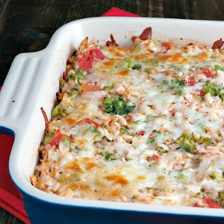Cheesy Tomato Chicken Rice Bake