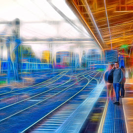 Moving At Light Speed by Garry Dosa - Digital Art Places ( outdoors, station, autumn, railway, people, digital art )