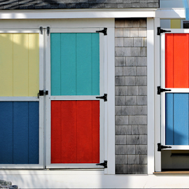Colorful Doors by Leah Zisserson - Artistic Objects Other Objects ( doors, red, blue, rhode island, cottage, colors, yellow,  )