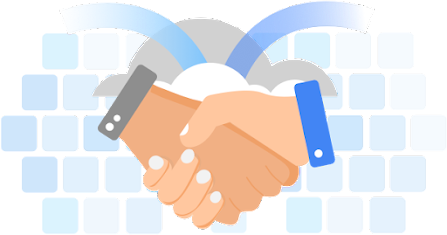 Illustration of two hands in a handshake over a keyboard.
