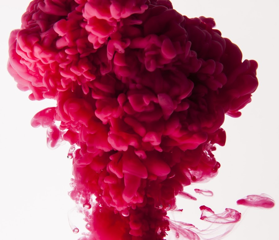 Red Mist by Russell Mander - Abstract Macro ( red, cloud, paint, abstract, water sculpture )