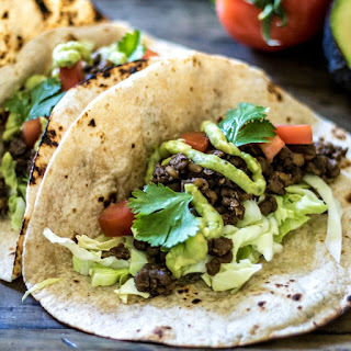 Easy Lentil Tacos with Avocado Cream.